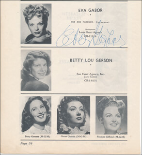 Autographs: EVA GABOR - DIRECTORY PHOTO SIGNED
