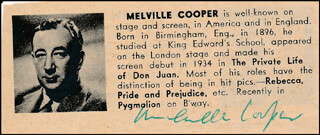 MELVILLE COOPER - DIRECTORY PHOTO SIGNED