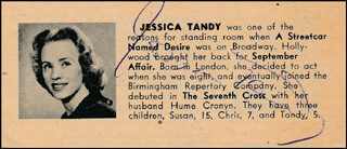 JESSICA TANDY - DIRECTORY PHOTO SIGNED
