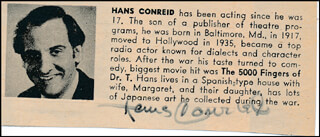 HANS CONRIED - DIRECTORY PHOTO SIGNED
