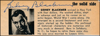 SIDNEY BLACKMER - DIRECTORY PHOTO SIGNED