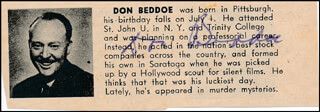 DON BEDDOE - DIRECTORY PHOTO SIGNED