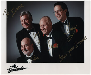 THE DIAMONDS - INSCRIBED PRINTED PHOTOGRAPH SIGNED IN INK CO-SIGNED BY: THE DIAMONDS (JOHN FELTEN), THE DIAMONDS (STEVE SMITH), THE DIAMONDS (JERRY HONEYCUTT), THE DIAMONDS (GARY CECH)