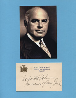 GOVERNOR HERBERT H. LEHMAN - PRINTED CARD SIGNED IN INK