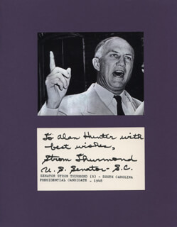 STROM THURMOND - AUTOGRAPH NOTE SIGNED