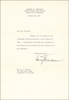 PRESIDENT HARRY S TRUMAN - TYPED LETTER SIGNED 01/28/1954