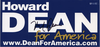 GOVERNOR HOWARD DEAN - EPHEMERA SIGNED