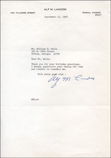 GOVERNOR ALF M. (ALFRED) LANDON - TYPED LETTER SIGNED 09/13/1967