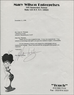 THE SUPREMES (MARY WILSON) - TYPED LETTER SIGNED 12/11/1998