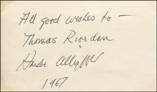HARDIE ALBRIGHT - AUTOGRAPH NOTE SIGNED 1967