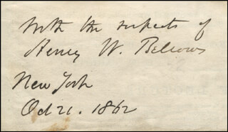 Autographs: HENRY WHITNEY BELLOWS - AUTOGRAPH SENTIMENT SIGNED 10/21/1862