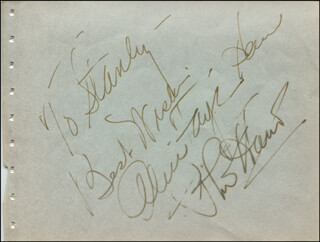 THE PHIL HARRIS-ALICE FAYE RADIO SHOW - AUTOGRAPH NOTE SIGNED CO-SIGNED BY: PHIL HARRIS, ALICE FAYE
