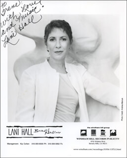 LANI HALL - INSCRIBED PRINTED PHOTOGRAPH SIGNED IN INK