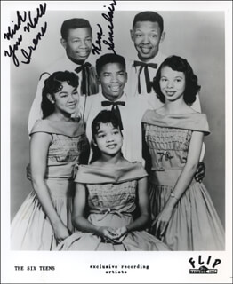 THE SIX TEENS (KENNETH SINCLAIR) - INSCRIBED PRINTED PHOTOGRAPH SIGNED IN INK