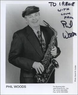 PHIL WOODS - INSCRIBED PRINTED PHOTOGRAPH SIGNED IN INK