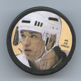 JOE JUNEAU - HOCKEY PUCK SIGNED
