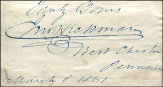 JOHN HICKMAN - AUTOGRAPH SENTIMENT SIGNED 03/08/1861