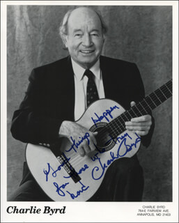Autographs: CHARLIE BYRD - PRINTED PHOTOGRAPH SIGNED IN INK