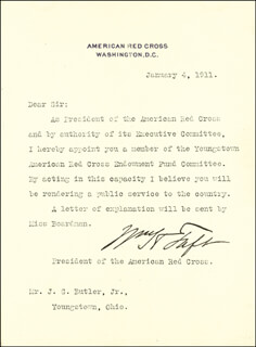 PRESIDENT WILLIAM H. TAFT - TYPED LETTER SIGNED 01/04/1911