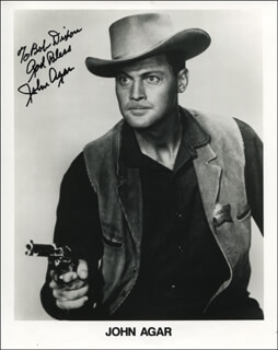 JOHN AGAR - INSCRIBED PRINTED PHOTOGRAPH SIGNED IN INK