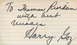 HARRY G. GOZ - AUTOGRAPH NOTE DOUBLE SIGNED