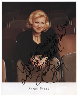 SANDI PATTY - PRINTED PHOTOGRAPH SIGNED IN INK