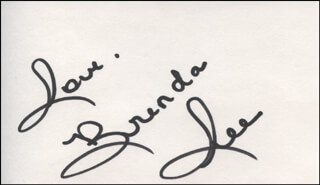 BRENDA LEE - AUTOGRAPH SENTIMENT SIGNED