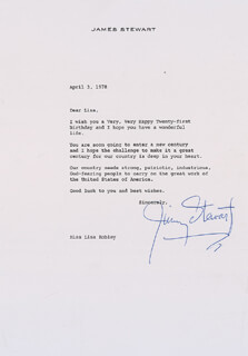 JAMES JIMMY STEWART - TYPED LETTER SIGNED 04/03/1978
