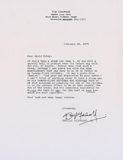 DOUGLAS FAIRBANKS JR. - TYPED LETTER SIGNED 02/22/1978