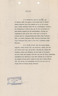 PRESIDENT HARRY S TRUMAN - DOCUMENT SIGNED 10/31/1932