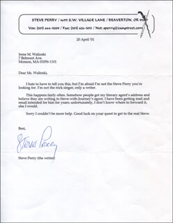 STEVE PERRY - TYPED LETTER SIGNED 04/20/2001