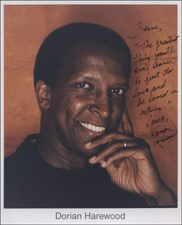 DORIAN HAREWOOD - AUTOGRAPH NOTE ON PHOTOGRAPH SIGNED