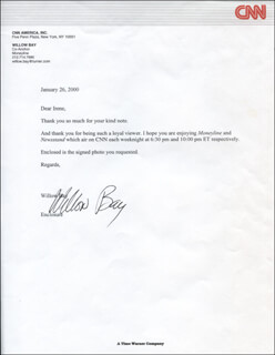 Autographs: WILLOW BAY - TYPED LETTER SIGNED 01/26/2000