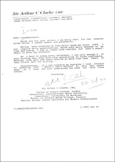 SIR ARTHUR C. CLARKE - TYPED LETTER SIGNED 07/26/1999