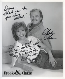 CROOK & CHASE - INSCRIBED PRINTED PHOTOGRAPH SIGNED IN INK CO-SIGNED BY: CROOK & CHASE (LORIANNE CROOK), CROOK & CHASE (CHARLIE CHASE)