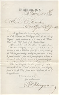 MAJOR GENERAL EDWIN D. MORGAN - TYPED LETTER SIGNED 03/25/1867