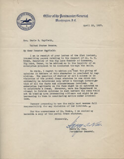 Autographs: HARRY S. NEW - TYPED LETTER SIGNED 04/22/1927