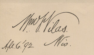Autographs: WILLIAM F. VILAS - SIGNATURE(S) 04/06/1892