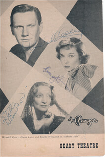 Autographs: SABRINA FAIR PLAY CAST - PROGRAM COVER SIGNED CO-SIGNED BY: ESTELLE WINWOOD, WENDELL COREY, DIANA LYNN