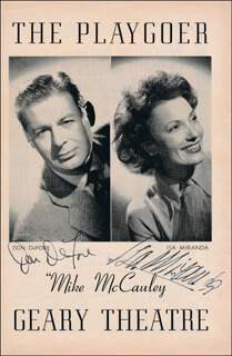 MIKE MCCAULEY PLAY CAST - PROGRAM COVER SIGNED CO-SIGNED BY: DON DEFORE, ISA MIRANDA