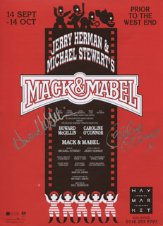 MACK & MABEL PLAY CAST - ADVERTISEMENT SIGNED CO-SIGNED BY: HOWARD MCGILLIN, CAROLINE O'CONNOR