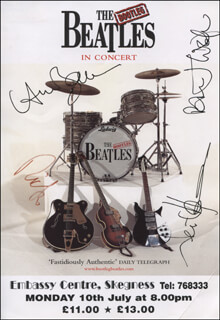 THE BOOTLEG BEATLES - ADVERTISEMENT SIGNED CO-SIGNED BY: THE BOOTLEG BEATLES (RICK ROCK), THE BOOTLEG BEATLES (ANDRE BARREAU), THE BOOTLEG BEATLES (NEIL HARRISON), THE BOOTLEG BEATLES (STEVE WHITE)