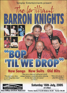 BARRON KNIGHTS - ADVERTISEMENT SIGNED CO-SIGNED BY: BARRON KNIGHTS (MICKEY GROOME), BARRON KNIGHTS (LLOYD COURTENAY), BARRON KNIGHTS (LEN CRAWLEY), BARRON KNIGHTS (PETER LANGFORD)