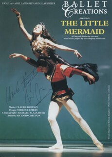 THE LITTLE MERMAID PLAY CAST - ADVERTISEMENT SIGNED CO-SIGNED BY: URSULA HAGELI, RICHARD SLAUGHTER