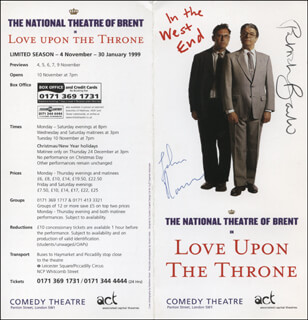LOVE UPON THE THRONE PLAY CAST - ADVERTISEMENT SIGNED CO-SIGNED BY: PATRICK BARLOW, JOHN RAMM