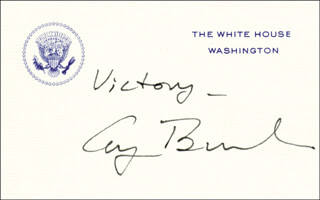Autographs: PRESIDENT GEORGE H.W. BUSH - WHITE HOUSE CARD SIGNED