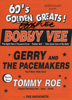 BOBBY VEE - ADVERTISEMENT SIGNED