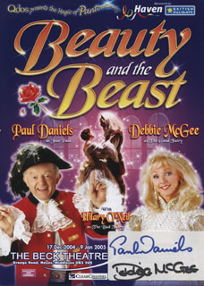 BEAUTY AND THE BEAST PLAY CAST - ADVERTISEMENT SIGNED CO-SIGNED BY: PAUL DANIELS, DEBBIE MCGEE