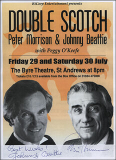 DOUBLE SCOTCH PLAY CAST - ADVERTISEMENT SIGNED CO-SIGNED BY: JOHNNY BEATTIE, PETER MORRISON