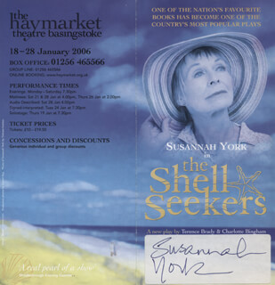 SUSANNAH YORK - ADVERTISEMENT SIGNED
